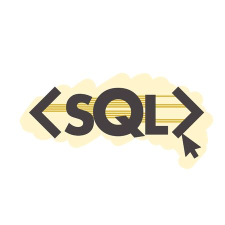 Text SQL Structured Query Language on Laptop, Database Search Data Code, Internet Security and Networking Concept, Sql Sigh Stroke Symbol Design Illusztráció