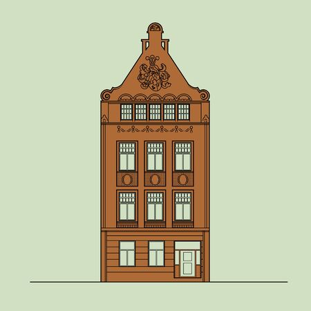 Europe Amsterdam Style Historic Tenement House in the Old Town, Cute Dutch Architecture Building and Facade, Danish, English or German Downtown Classic Street Detail and Cozy Home Banco de Imagens - 134752663