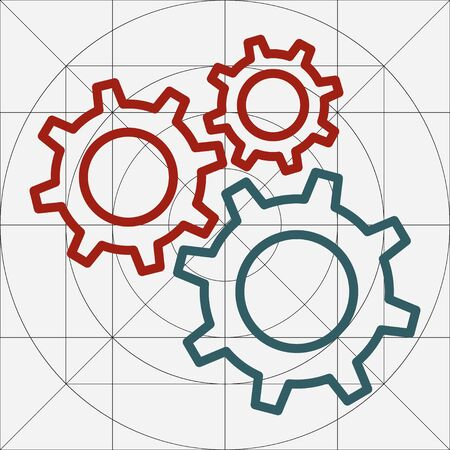 Mechanical Gears Cogwheels Icon, Settings Symbol, Development, Engineering ,Clockwork Concept, Gears in Engagement, Industry, Efficiency, Production Sign, Sketch Cogwheel Gear Mechanism, Working Together, Teamwork