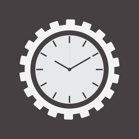 Clock and Gear Wheel, Engineering Tool Illustration, Business Cooperation Gear Concept, Settings Mechanism Sign, Technology Symbol, Productivity Blank Template, Work Icon