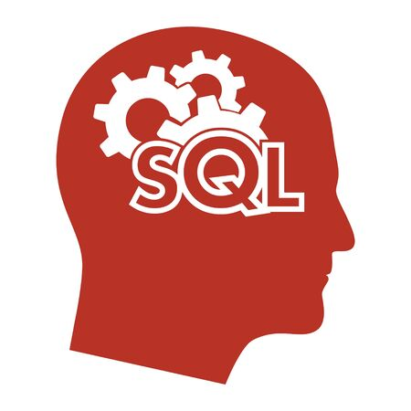 Text SQL Structured Query Language on Laptop, Database Search Data Code, Internet Security and Networking Concept, Sql Sigh Stroke Symbol Design Illustration