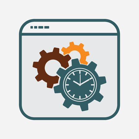 Cogwheel Gear Symbol, Productivity Icon in File Frame, Project Management, Productivity Sign, Business Optimization Vector Illustration for Infographic, Website or App