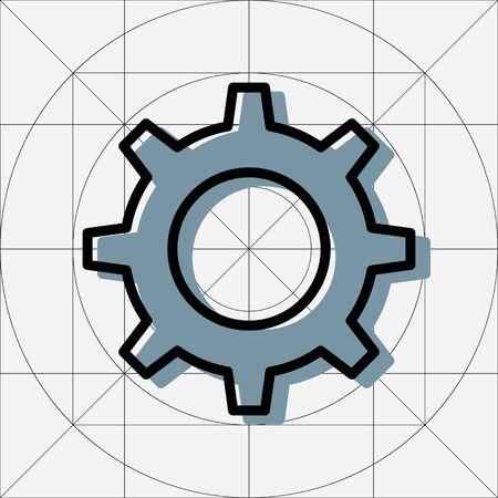 Icône de vecteur simple vitesse unique, pictogramme de roue dentée, symbole de paramètres