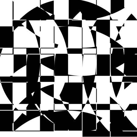 Black and White Broken Glass Grid Vector Background, Abstract Mosaic Pattern, Particle Crack Overlay, Slow Motion Explode Broken, Random Edgy Scattered Geometric Shapes Design Element Illusztráció