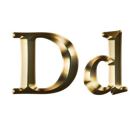 Luxury Dd 2-level Gold Gradient Isolated on White, Gold Glittering Metal Latin Alphabet, Elegant Realistic 3D Dd Golden Glitter Letters, ABC Font Banco de Imagens
