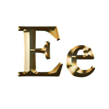 Luxury Ee 2-level Gold Gradient Isolated on White, Gold Glittering Metal Latin Alphabet, Elegant Realistic 3D Dd Golden Glitter Letters, ABC Font