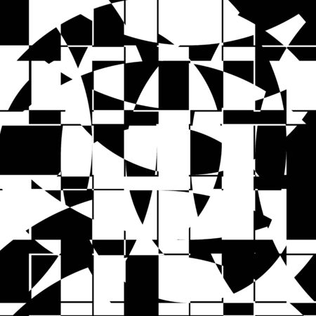Black and White Broken Glass Grid Vector Background, Abstract Mosaic Pattern, Particle Crack Overlay, Slow Motion Explode Broken, Random Edgy Scattered Geometric Shapes Design Element Illustration