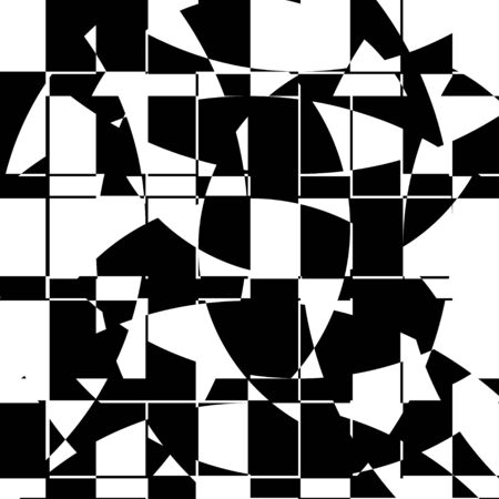 Black and White Broken Glass Grid Vector Background, Abstract Mosaic Pattern, Particle Crack Overlay, Slow Motion Explode Broken, Random Edgy Scattered Geometric Shapes Design Element Vettoriali