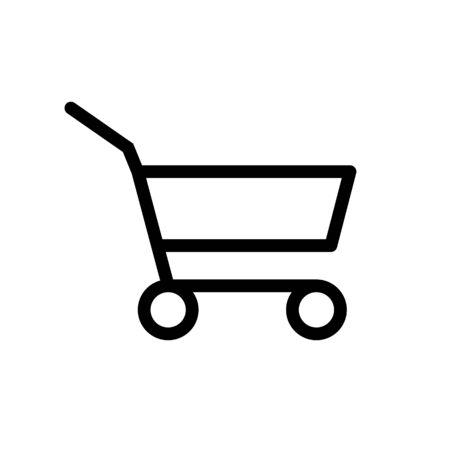 Lebensmittel Supermarkt Trolley Cart Vector Icon, leerer Einkaufswagen für Käufer, Konsumkonzept Zeichen, weniger Einkaufen verursachen Verbraucherverhalten Online-Shopping-Effekt, Business Shrink