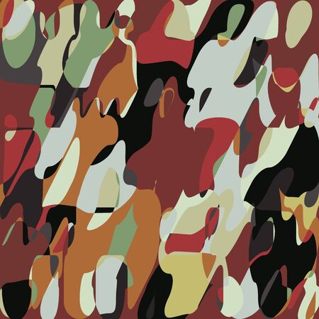 Grunge Paint?Mosaic Pattern, Abstract Art Fashion Abstract Blob, Foliage Army Military?Fashionable Fabric?Background,?Hunting?Camouflage?Textile Printing,?Creative Layered Vector Illustration