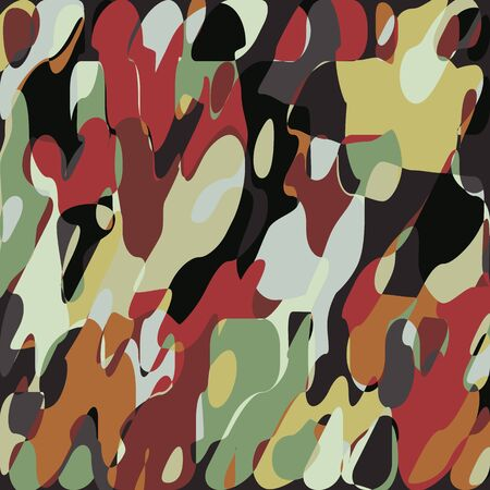 Grunge Paint�Mosaic Pattern, Abstract Art Fashion Abstract Blob, Foliage Army Military�Fashionable Fabric�Background,�Hunting�Camouflage�Textile Printing,�Creative Layered Vector Illustration