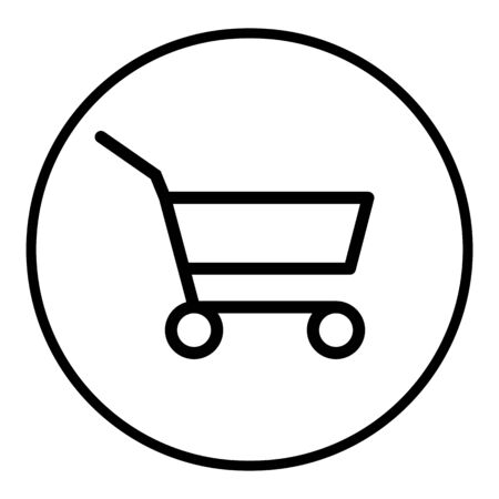Grocery Supermarket Trolley Cart Vector Icon, Empty Shopping Cart for Buyer, Consumerism Concept Sign, Fewer Shopping Cause Consumer Behavior Online Shopping Effect, Business Shrink Ilustração