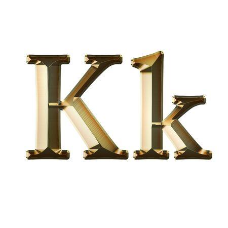 Luxury Kk 2-level Gold Gradient Isolated on White, Gold Glittering Metal Latin Alphabet, Elegant Realistic 3D Dd Golden Glitter Letters, ABC Font