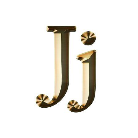 Luxury Jj 2-level Gold Gradient Isolated on White, Gold Glittering Metal Latin Alphabet, Elegant Realistic 3D Dd Golden Glitter Letters, ABC Font
