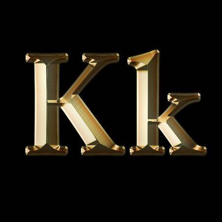 Luxury Kk 2-level Gold Gradient Isolated on Black, Gold Glittering Metal Latin Alphabet, Elegant Realistic 3D Dd Golden Glitter Letters, ABC Font