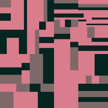Pixel Background, Abstract Geometric Brick Vector Art, Irregular Tangled Shapes Design, Random Order Digital Camouflage Seamless Chaotic Pattern