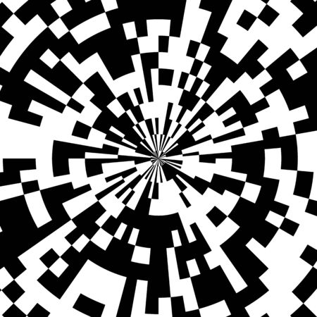 Radial Mosaic Tiles,�Vector of�Abstract Circular Pattern of the Pixel Effect�Dome,�Domed Roof�Comic Book Black and White Radial Circle�Background, Pop Art Design Explosion Illustration
