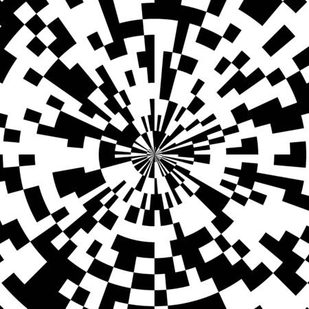 Radial Mosaic Tiles, Vector of Abstract Circular Pattern of the Pixel Effect Dome, Domed Roof Comic Book Black and White Radial Circle Background, Pop Art Design Explosion Illustration