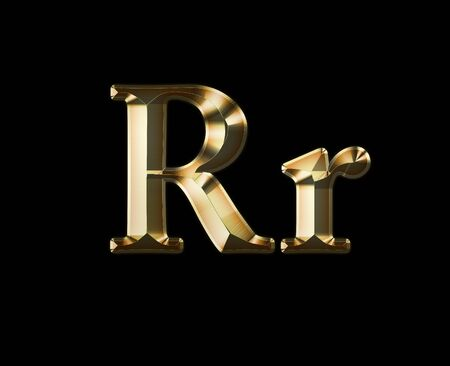 Luxury Rr 2-level Gold Gradient Isolated on Black, Gold Glittering Metal Latin Alphabet, Elegant Realistic 3D Dd Golden Glitter Letters, ABC Font