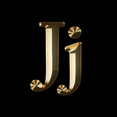 Luxury Jj 2-level Gold Gradient Isolated on Black, Gold Glittering Metal Latin Alphabet, Elegant Realistic 3D Dd Golden Glitter Letters, ABC Font