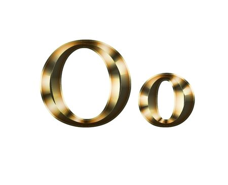 Luxury Oo 2-level Gold Gradient Isolated on White, Gold Glittering Metal Latin Alphabet, Elegant Realistic 3D Dd Golden Glitter Letters, ABC Font Imagens