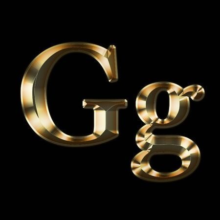 Luxury Gg 2-level Gold Gradient Isolated on Black, Gold Glittering Metal Latin Alphabet, Elegant Realistic 3D Dd Golden Glitter Letters, ABC Font Stock fotó