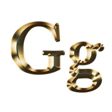 Luxury Gg 2-level Gold Gradient Isolated on White, Gold Glittering Metal Latin Alphabet, Elegant Realistic 3D Dd Golden Glitter Letters, ABC Font