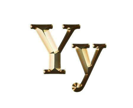 Yy Gold Glittering Metal Latin Alphabet