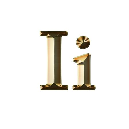 Ii Gold Glittering Metal Latin Alphabet