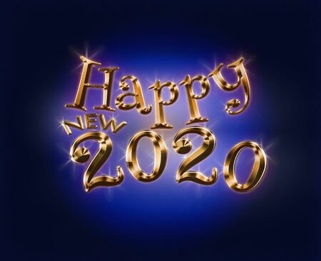 Holiday Illustration of Luxury Golden Metallic Happy New 2020 Standard-Bild - 142221837