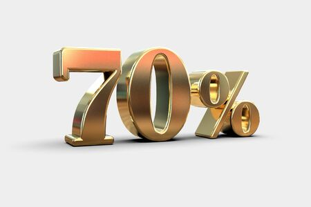 Gold Sale 70%, Gold Percent Off Discount Sign