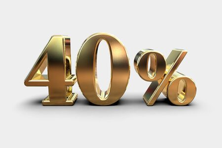 Gold 3d 40 Percent Off Discount Sign, Sale Banner Template, Special Offer 40% Off Discount Tag Archivio Fotografico
