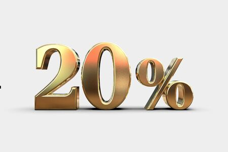 Gold 20 Percent Off Discount Sign, Sale Banner Template, Special Offer 20% Off Discount Tag