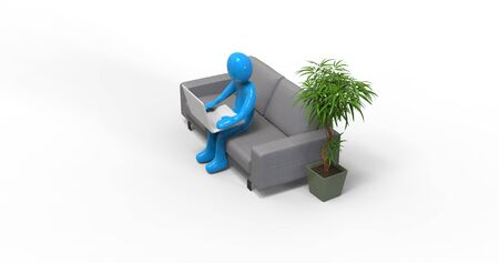 3D illustration: Character Man Working with Laptop in Home Office, Work Remotely from Anywhere, Studying Distantly Any Workplace Quarantine, Online Educational Class Lecture, Consulting Customer Stock fotó