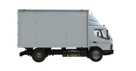 Delivery van postal truck isolated on white