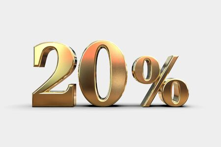 Gold 20 Percent Off Discount Sign, Sale Banner Template, Special Offer 20% Off Discount Tag, Ten Percentages Up Sticker, Gold Sale Symbol, Gold Sticker, Banner, Advertising, Gold Sale 20% Archivio Fotografico