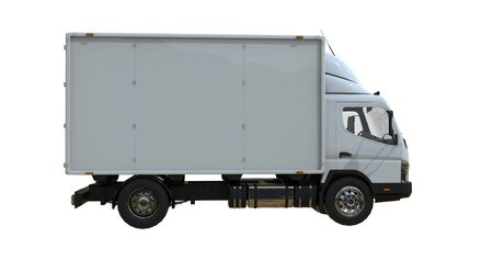 White commercial delivery truck on a white background isolated, template element infographic, postal truck, express, fast delivery, white delivery truck icon, transporting service