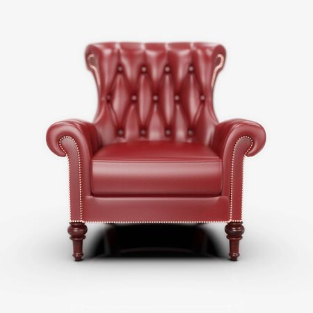 RedComfortable OfficeLeather Armchair, VintageBoss Armchairon Gray Background, Concept for Free Position, Career, Head Hunter