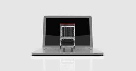 3d render: Shopping Cart on Laptop, E-commerce, Trolley in Front of Laptop, Online-shopping, Online Business, Trading Marketing Concept, Consumer Online,  Order Shopping Background, Buy by Internet
