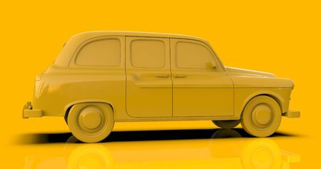 3D illustration: Yellow Vintage Retro Toy Cab Carriage Taxi Automobile Car on Yellow Background, Travel Concept, London and New York Public City Transport Taxi Service Vehicle 3D Rendering