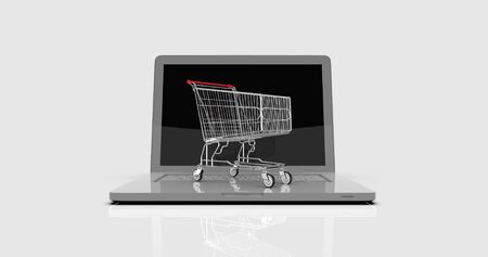 Shopping Cart on Laptop, E-commerce, Trolley in Front of Laptop, Online-shopping, Online Business, Trading Marketing Concept, Consumer Online, Order Shopping Background, Buy by Internet