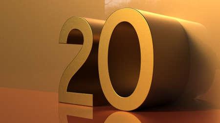 20 golden numbers, yellow volume gold, party Foto de archivo