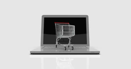 Shopping Cart on Laptop, E-commerce