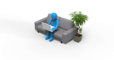 Character Man Working with Laptop in Home Office