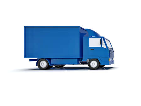 Blue Toy Commercial Delivery Truck on a White Background isolated, Template Element Infographic, Postal Truck, Express, Fast Delivery, BlueDelivery Truck Icon, Transporting Service, Packages Shipment Stock fotó