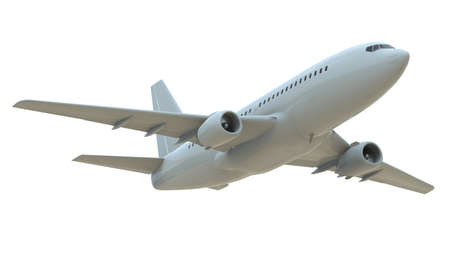 CommercialPassenger Plane in Airon White, VacationTravel by Air Transport,AirlinerTake OffFlying,Aircraft Flight andAviationRouteAirline Sign, Aviation Cargo Service3d Illustration Banque d'images