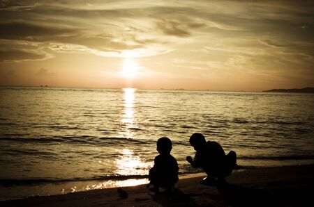 Children playing by the beach at Pattaya Stock Photo - 11418330