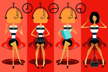 haircutting: illustration of the beautiful woman in hairdressing saloon. Illustration