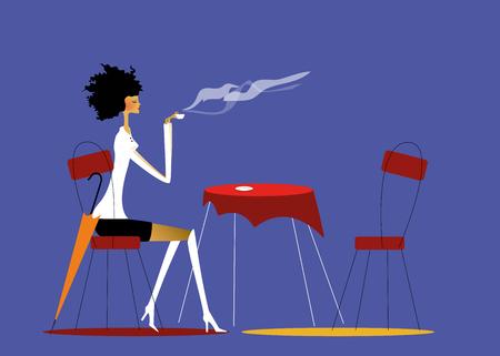 コーヒーを飲んでいる若い女性のイラスト。  イラスト・ベクター素材