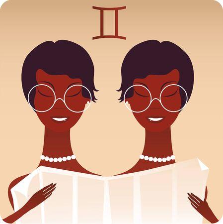 sig: Cartoon Illustration of gold Gemini The Twins Zodiac Horoscope Sig Illustration